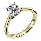 9ct yellow & white gold 1/4 carat diamond solitaire ring - Product number 9567984