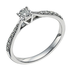 9ct white gold 0.16 carat diamond solitaire ring - Product number 9568247