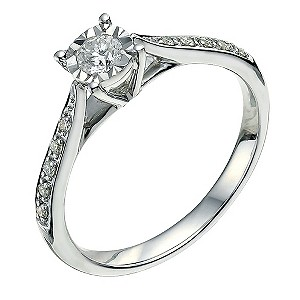 9ct white gold 1/4 carat diamond ring - Product number 9568387