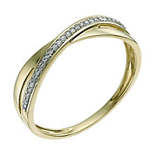 9ct yellow gold diamond cross over ring - Product number 9568786