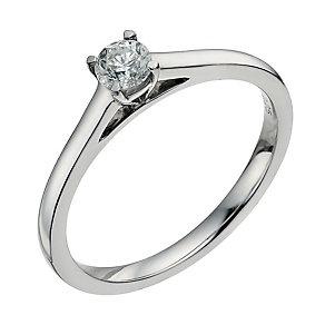 Palladium 950 0.25ct diamond solitaire ring - Product number 9568905