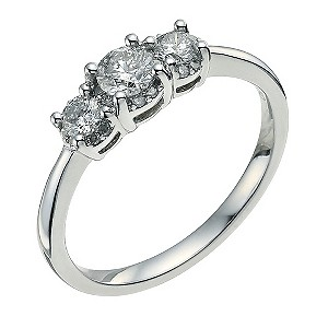 9ct white gold 1/2 ct three diamond halo ring - Product number 9570330