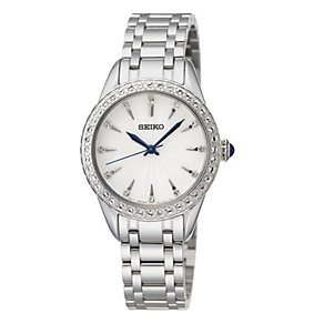 Seiko Ladies' Stone Set Stainless Steel Bracelet Watch - Product number 9572600