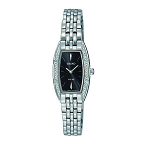 Seiko Solar Ladies' Diamond Set Black Dial Bracelet Watch - Product number 9572627