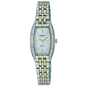 Seiko Solar Ladies' Diamond Set Two Colour Bracelet Watch - Product number 9572643