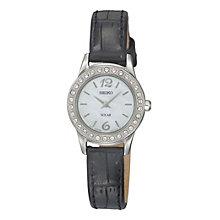 Seiko Solar Ladies' Stone Set Black Strap Watch - Product number 9572937