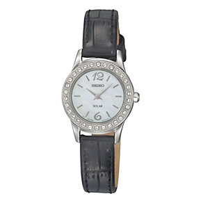 Seiko Solar Ladies' Stone Set Black Strap Watch - Product number 9572937