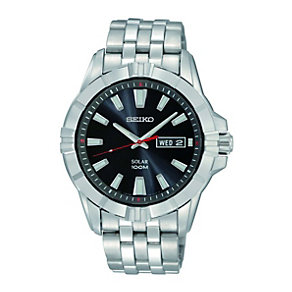 Seiko Solar Men's Black Dial Stainless Steel Bracelet Watch - Product number 9572988