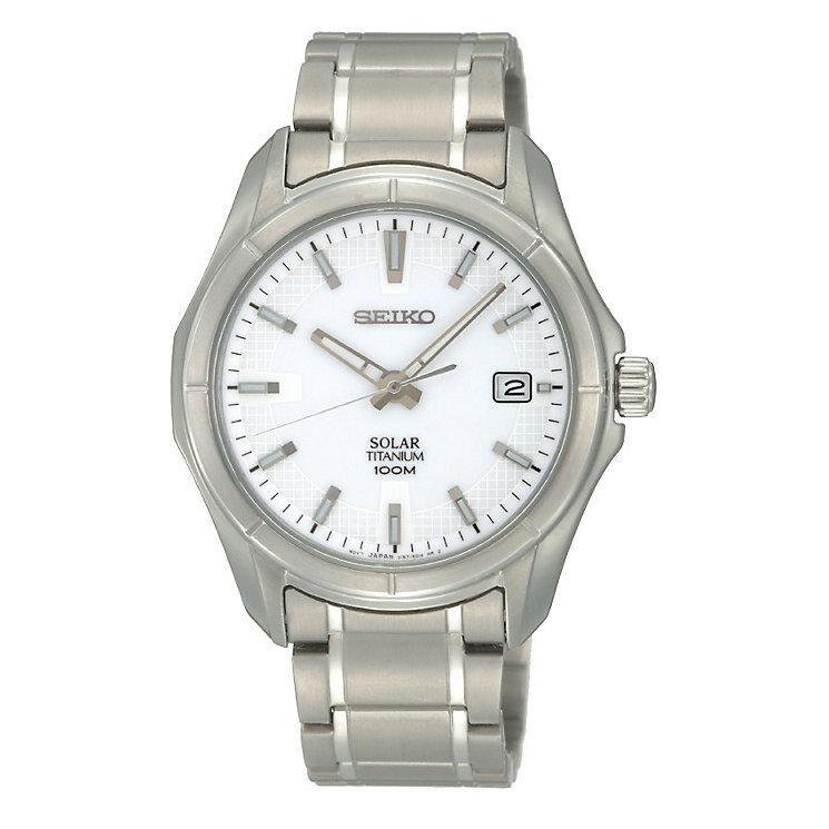 seiko solar men s white dial titanium bracelet watch h samuel seiko solar men s white dial titanium bracelet watch product number 9572996