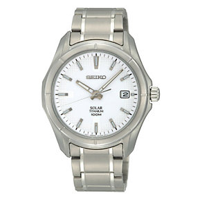 Seiko Solar Men's White Dial Titanium Bracelet Watch - Product number 9572996