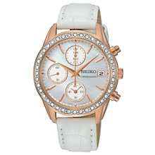 Seiko Ladies' Chronograph Crystal Set White Strap Watch - Product number 9573003