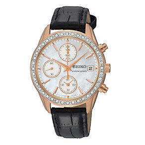 Seiko Ladies' Chronograph Crystal Set Black Strap Watch - Product number 9573011