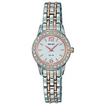 Seiko Solar Ladies' Crystal Set Two Colour Bracelet Watch - Product number 9573070
