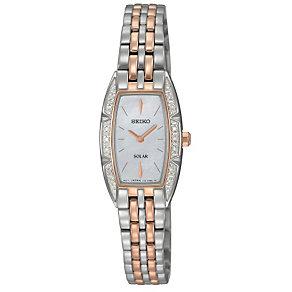 Seiko Solar Ladies' Diamond Set Two Colour Bracelet Watch - Product number 9573097