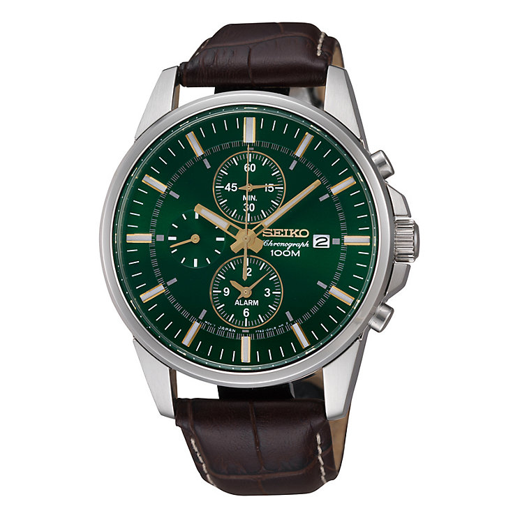 Seiko Men's Chronograph Green Dial Brown Leather Strap Watch - Product number 9573143