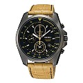 Seiko Men's Chronograph Black Dial Tan Leather Strap Watch - Product number 9573186