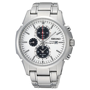 Seiko Solar Men's White Dial Stainless Steel Bracelet Watch - Product number 9573224