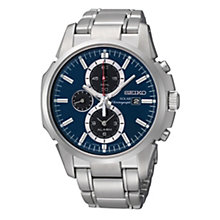 Seiko Solar Men's Blue Dial Stainless Steel Bracelet Watch - Product number 9573232