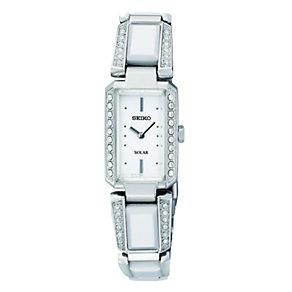 Seiko Solar Ladies' Stone Set White Dial Bracelet Watch - Product number 9573356