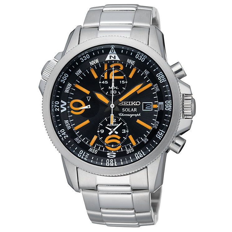 Seiko Solar Men's Chronograph Black Dial Bracelet Watch - Product number 9573364