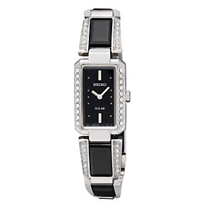 Seiko Solar Ladies' Stone Set Black Dial Bracelet Watch - Product number 9573402