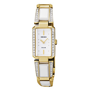 Seiko Solar Ladies' Stone Set Gold Plated Bracelet Watch - Product number 9573488