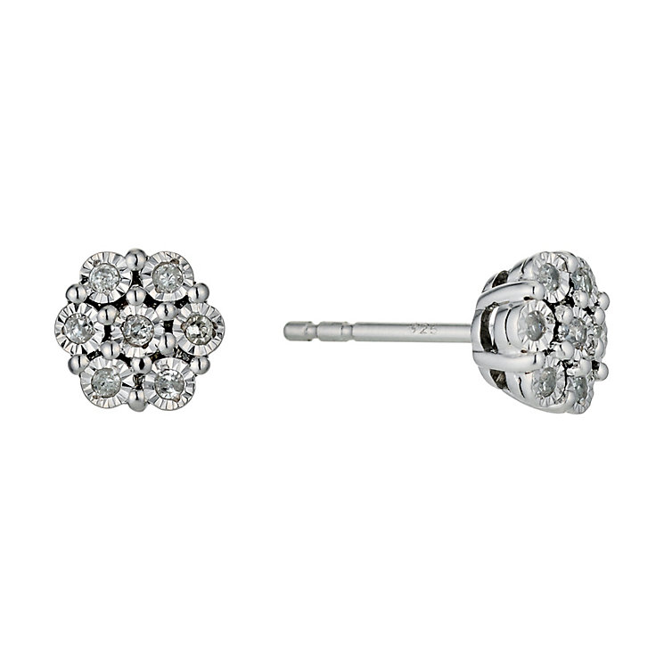 Sterling Silver Diamond Flower Cluster Stud Earrings - Product number 9574964