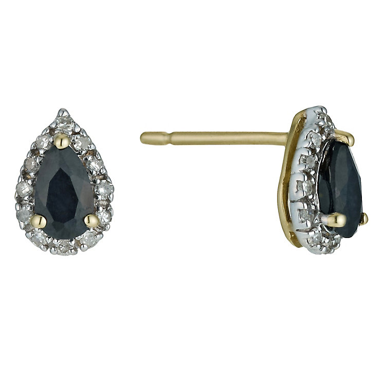 9ct Yellow Gold Sapphire Pear Stud Earrings - Product number 9574999