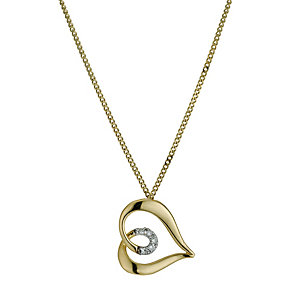 9ct Yellow Gold Diamond Set Heart Pendant - Product number 9575065