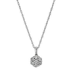 Sterling Silver Flower Inspired Diamond Pendant - Product number 9575162