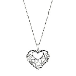 Sterling Silver Diamond Set Heart Pendant - Product number 9575189