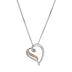 Sterling Silver & Rose Gold Diamond Heart Pendant - Product number 9575197