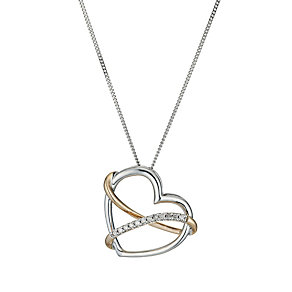 Sterling Silver & Rose Gold Diamond Heart Pendant - Product number 9575200
