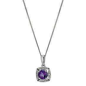 9ct White Gold Diamond & Amethyst Pendant - Product number 9575227