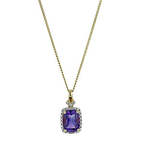 9ct Yellow Gold Amethyst & Diamond Pendant - Product number 9575235