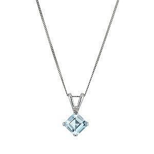 9ct White Gold Blue Topaz Pendant - Product number 9575243