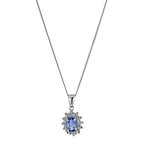 9ct White Gold Diamond & Tanzanite Pendant - Product number 9575251