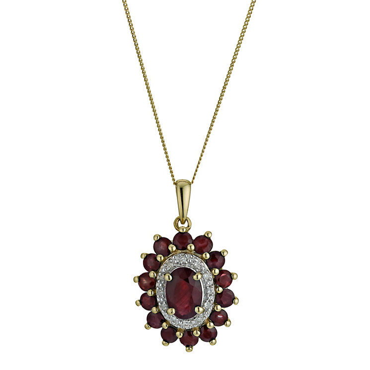 9ct Yellow Gold Oval Ruby & Diamond Pendant - Product number 9575286