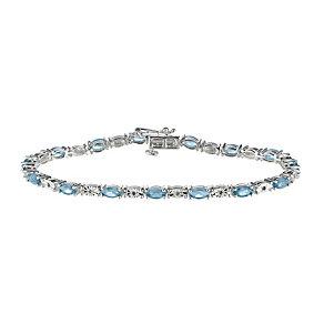 Sterling Silver Diamond & Blue Topaz Bracelet - Product number 9575375