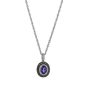 Le Mode Sterling Silver Amethyst Quartz & Diamond Pendant - Product number 9575545