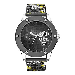 Marc Ecko Grey & Yellow Print Strap Watch - Product number 9575669