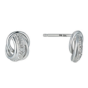 9ct White Gold Beaded & Diamond Stud Earrings - Product number 9575677