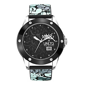 Marc Ecko Black & Blue Print Silicone Strap Watch - Product number 9575723