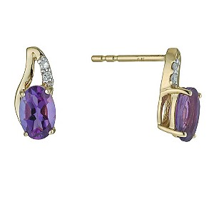 9ct Yellow Gold Amethyst Drop Earrings - Product number 9575774