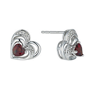 Candy Hearts Argentium Silver & Garnet Heart Stud Earrings - Product number 9575898