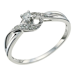 9ct White Gold Twist Diamond Ring - Product number 9578137