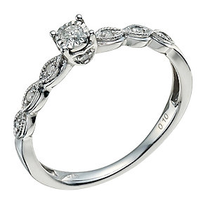 9ct White Gold 1/10 Carat Diamond Solitaire Ring - Product number 9578420