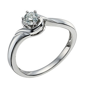9ct White Gold 1/4 Carat Diamond Solitaire Ring - Product number 9578617