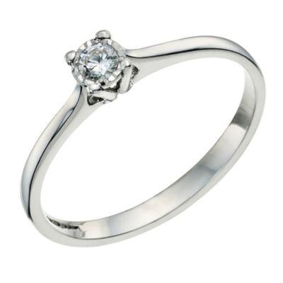 9ct White Gold Diamond Solitaire Ring HSamuel