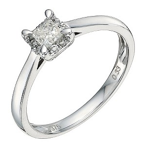 9ct White Gold 1/3 Carat Princess Cut Diamond Ring - Product number 9579494